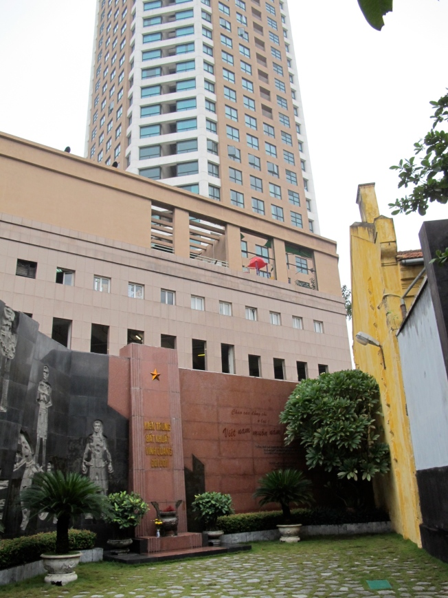 Hoa Lo prison yard with the high-rise building in the background. The view - and the accommodations - sure have changed...