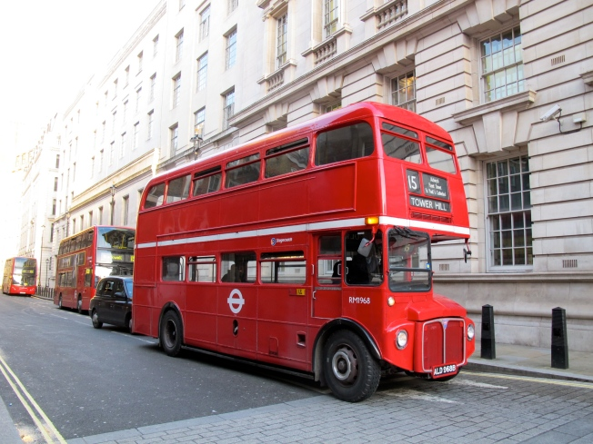 Retro-bus in signature bright red