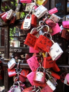 Modern-day lovers leave padlocks in Juliet's house courtyard